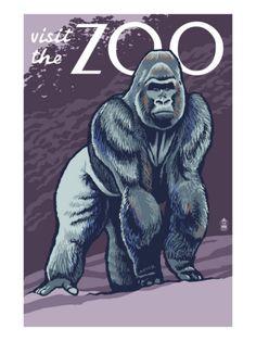 Visit the Zoo, Gorilla Scene Premium Poster at Art.com