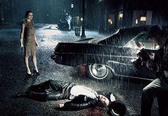 Film Noir mise en scène - rain