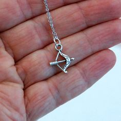 Bow and arrow charm necklace, silver simple everyday jewerly archery sports hunting tiny small pendant teens girls gift
