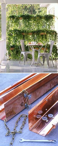"""DIY PLANTERS :: Copper Gutter Planter Tutorial :: Create this Ivy """"Screen"""" w/ lengths of chain between pairs of copper K-style gutters, which have flat backs. 