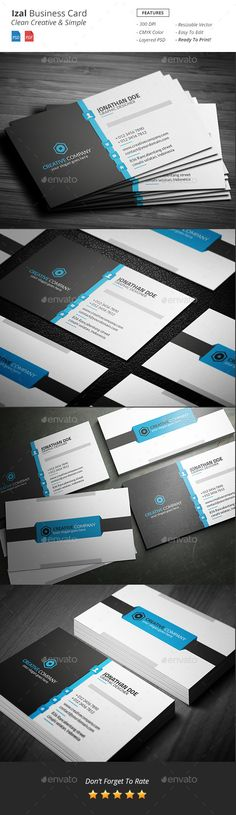 Izal - Clean Creative Business Card Template #print #design Download: http://graphicriver.net/item/izal-clean-creative-business-card/12041922?ref=ksioks