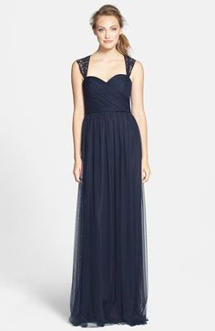 Amsale Lace Detail Tulle Gown | Nordstrom