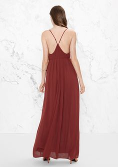 & Other Stories image 3 of Draping Tassel Belt Maxi in Dark Red