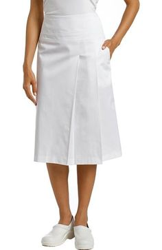 Marvella by White Cross Women's Drop Waist Pleated Scrub Skirt Scrubs Outfit, Scrubs Uniform, Scrub Skirts, Uniform Dress, Nursing Dress, White Crosses, Asymmetrical Skirt, White Skirts, Drop Waist