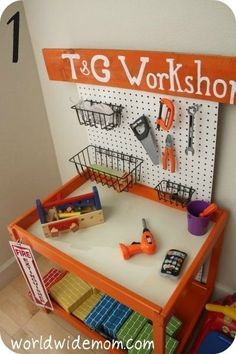 playroom IKEA Hackers: Toy Kitchen from a changing table more ideas for the table when done. activities-for-kids Diy For Kids, Cool Kids, Decoration Creche, Tool Bench, Tool Table, Toy Rooms, Kids Rooms, Toy Kitchen, Kid Spaces