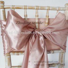 Shaoxing zhuding rose gold chair sashes satin