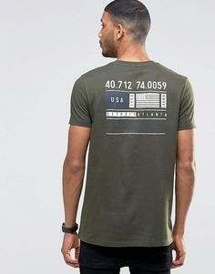 Image 1 of ASOS Longline T-Shirt With Flag Chest And Back Print In Khaki