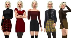 - Source by isi_ben - The Sims, Sims 4, Skirt Outfits, Cute Outfits, October Fashion, Nude Tops, Gamine Style, Peter Pan Collar Dress, Sabrina Spellman