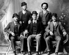 Butch Cassidy and the Sundance Kid. Butch Cassidy seated far right. Sundance Kid seated far left.Butch Cassidy and the Sundance Kid. Butch Cassidy seated far right. Sundance Kid seated far left. Sundance Kid, Gangsters, Churchill, Billy Kid, Old West Outlaws, Katharine Ross, The Wild Bunch, Into The West, Einstein
