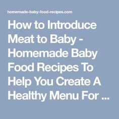 How to Introduce Meat to Baby - Homemade Baby Food Recipes To Help You Create A Healthy Menu For YOUR Baby