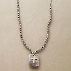 """TRUE FAITH NECKLACE--Simple, modern and perfect paired with a T-shirt or dress—Rebecca Lankford's oxidized sterling silver necklace holds faceted mystic labradorite, a sterling charm and a 10kt gold cross. USA. Exclusive. 32""""L."""