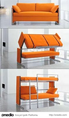 Furniture and Accessories. inspiring Multipurpose Furniture for Small Spaces. Multipurpose Folded Bunk Bed From Convertible Couch With Orange Color and Soft Sheets with Two Cushions for Living Room Idea Sofa Bed Bunk Bed, Cool Bunk Beds, Murphy Bunk Beds, Dorm Couch, Cool Furniture, Furniture Design, Multifunctional Furniture, Multipurpose Furniture, Furniture Ideas