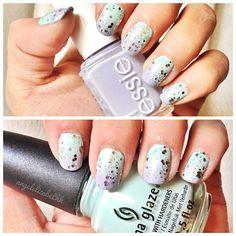 "Ombre nails! Essie ""Set In Stone"" x Essie ""Lilacism"" x China Glaze ""Refreshmint"""