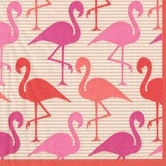 Entertaining with Caspari Flamingo Strut, Cocktail Napkin, Pack of 20