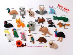 AUSTRALIAN ANIMALS felt magnets,Aussie animals,fridge magnets,cute fridge magnets,refrigerator magnet,felties,price per 1 item