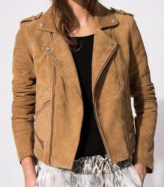 Maje Basalta Biker Style Goatskin Leather Moto Jacket in Camel