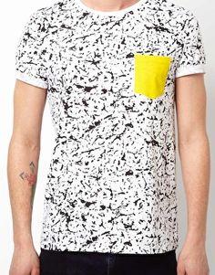 Image 3 ofASOS T-Shirt With Fluro Pocket And Splash Print
