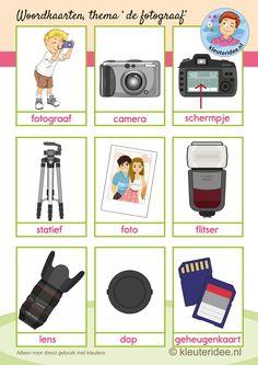 Woordkaarten bij thema 'de fotograaf' voor kleuters, kleuteridee.nl, free printable. Learn Dutch, Vlog, Prepositions, Kids Learning, Kindergarten, Preschool, Cinema, Language, Photography