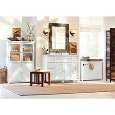Home Decorators Collection Hampton Harbor 45 in. W x 22 in. D Bath Vanity in White with Natural Marble Vanity Top in White Natural - The Home Depot Linen Storage Cabinet, White Storage Cabinets, Wood Laundry Hamper, Laundry Room, Tilt Out Hamper, Queen Size Sheets, Marble Vanity Tops, Bedroom Flooring, White Houses