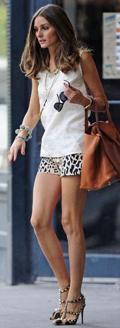 leo print shorts, white top & Valentino rockstuds