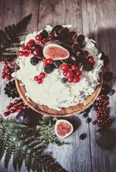 coconut coated sponge cake topped with fruit.
