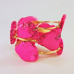 Dark Fuchsia Turquoise and Gold Wire Wrapped Bangle. So pretty!!! I love how big and chunky it is, and bright!!! AND organic!