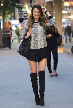 perfect fall outfit knee high boots bloomingdales sweater
