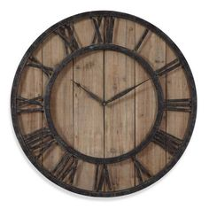 product image for Uttermost 30-Inch Wooden Wall Clock in Rustic Dark Bronze