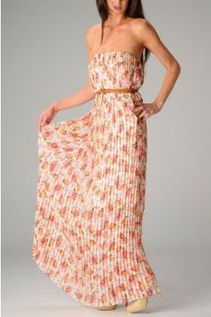 #salediem #maxi #dress C. Luce  This strapless accordion pleated maxi dress has a belted waist with floral rose print.