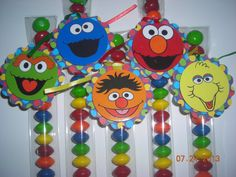 12 Sesame Street Elmo Inspired Candy Treat Bags Hang Tags Candy Tubes Toppers Birthday Party Favors Big Bird Cookie Monster Abby Rainbow on Etsy, $12.00