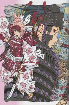 Masashi Kishimoto, Naruto, Sakura Haruno, Sasuke Uchiha in samurai role Sakura Haruno, Sakura Manga, Manga Naruto, Sakura And Sasuke, Naruto And Sasuke, Naruto Shippuden Anime, Manga Anime, Boruto, Kabuto Samurai