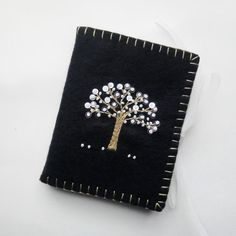 Wool Felt Needle Case Embroidered Black by PatriciaWelchDesigns