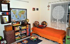 Beautiful Indian style bedroom for kids :) love the colour and oh the oplique handcrafted curtain is my favourite :)  For the Love of Sunshine Corners: Our Baby's Crib Was Upcycled!