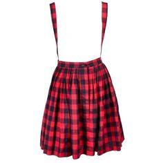 Preowned 1980s Norma Kamali Vintage Black & Red Plaid Vintage Skirt... (2.640 RON) ❤ liked on Polyvore featuring skirts, red, tartan skirt, red tartan plaid skirt, norma kamali, red cotton skirt and red plaid skirt
