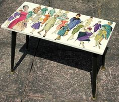 Upcycled Vintage Coffee/Side Table 1950's pin-up ladies fashion Decoupage #Unbranded #VintageRetro