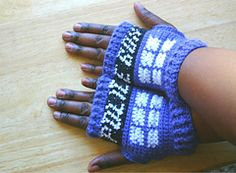 Ravelry: Tardis Inspired Fingerless Gloves pattern by Acquanetta Ferguson