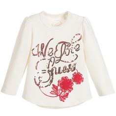 Guess Baby Girls Ivory Cotton Top with Gold Sequins at Childrensalon.com