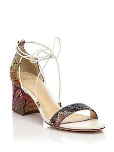 Alexandre Birman Rainbow Python Lace-Up Mid-Heel Sandals - White - Siz