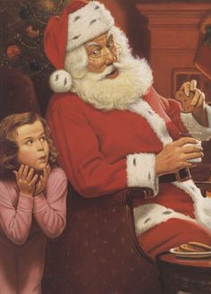 Santa and Child-poster for a bank