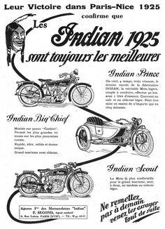 1925 indian prince | Publicité pour la gamme de 1925, gamme toujours présente en 1931 !
