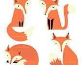 Fox Family Digital Clipart - Clip Art for Cards, Scrapbooking and Paper Crafts