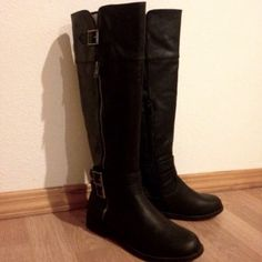 """NEW Zineva Black Boots NEW without box- with a functional side zipper and a mini tulip top, you can take Zineva with you everywhere.  Heel Height: 1.0"""" Man Made Sole Imported Zineva Shoes Heeled Boots"""