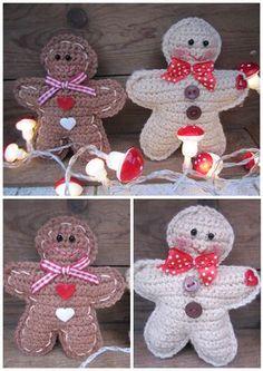 Link to free crochet pattern - gingerbread man ornament Crochet Christmas Decorations, Christmas Crochet Patterns, Crochet Ornaments, Crochet Decoration, Christmas Knitting, Crochet Crafts, Crochet Toys, Crochet Projects, Free Crochet