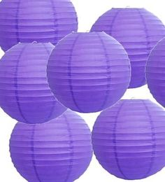 "Set of 10 Purple Paper Party Lanterns 14"" by ES"