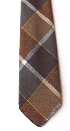 VINTAGE 1950s PURE WOOL NECK TIE by KEYNOTE Brown Yellow Grey Plaid FREE P&P #Keynote #NeckTie
