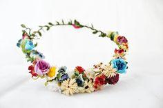Beige and nude flower headband cream flowers halo blue by ARTELIT