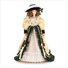 Porcelain Doll in Velvet & Ivory Dress