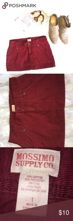 Mossimo corduroy mini skirt Cranberry. Small gauge corduroy. Button/zip fly closure. 5 pocket styling. Belt loops. Worn maybe 2x. Excellent condition. Wear with tights or leggings and booties! Size 1 juniors. Mossimo Supply Co. Bottoms Skirts