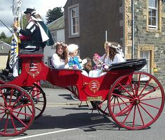 Peebles Beltane Festival. Our Beltane queen touring the town.