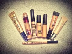 A selection of concealers suitable for dry skin! Rimmel, Maybelline, Nyx, MAC, L.A Girl, Dior.